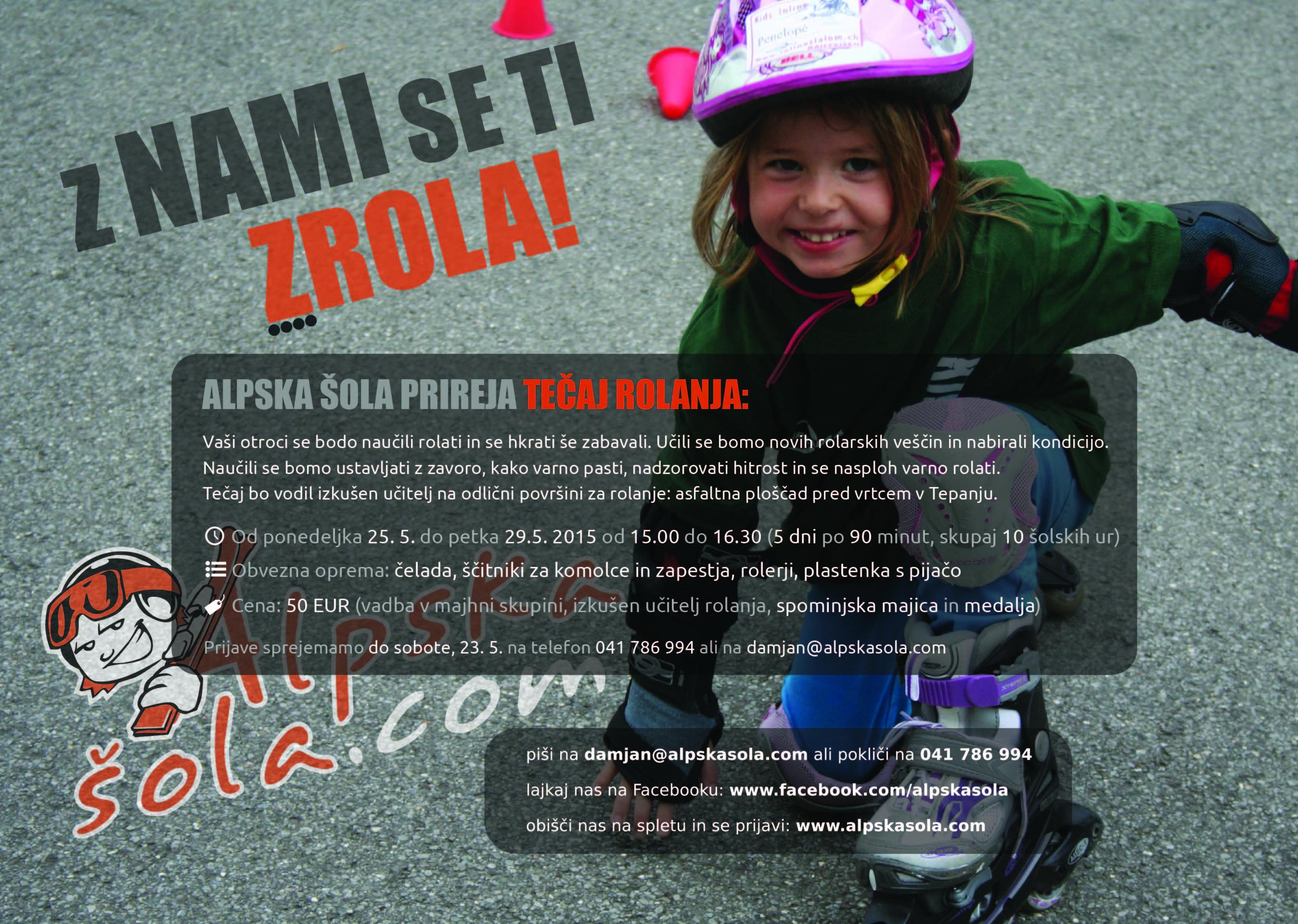 Alpska šola - Plakat rolanje 2015 - Tepanje